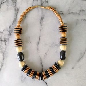 vintage wood disk chunky beaded necklace